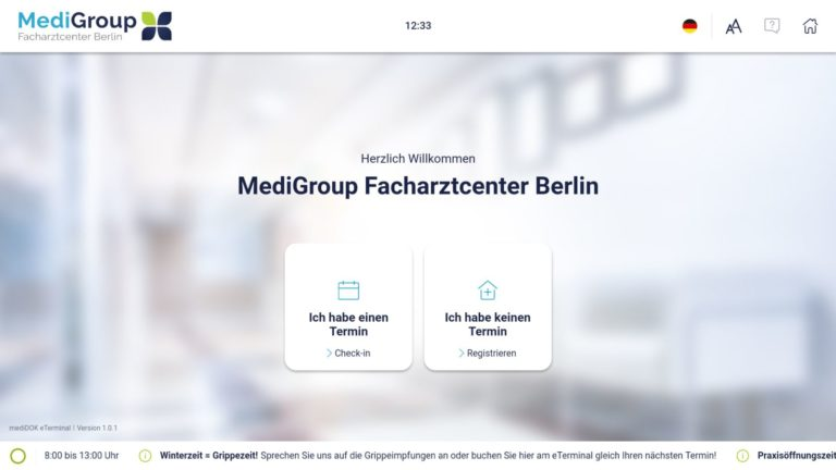 Patienten Self-Check-In am mediDOK eTerminal Welcome