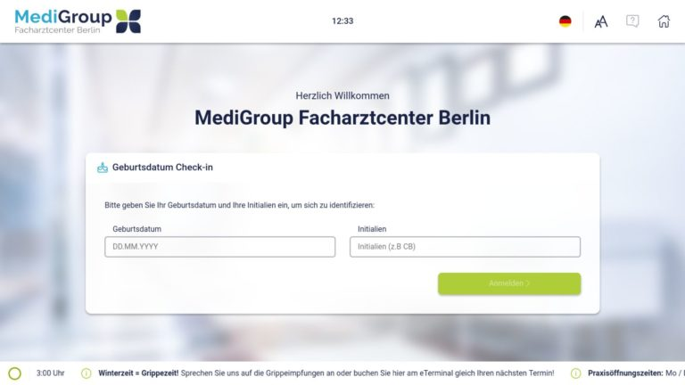 Patienten Self-Check-In am mediDOK eTerminal Anmelden